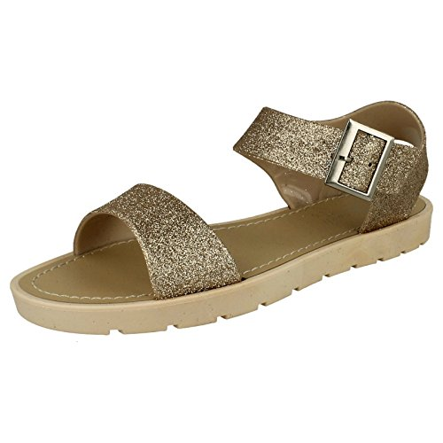 Ladies Glitter Thick Strap Summer Sandals Gold FpeL6o2v