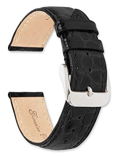 deBeer Brand Genuine Crocodile Watch Band (Silver  Gold Buckle) - Black 20mm
