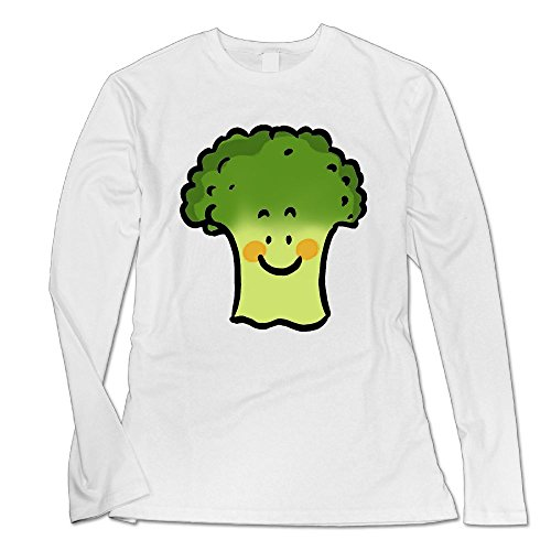 Ongshuquwe Cute Broccoli Women's Casual Long-sleeved Round Neck T-shirt Autumn And Winter M White