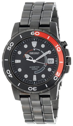 Price comparison product image Seiko Men's SKA389 Kinetic Black Ion Watch