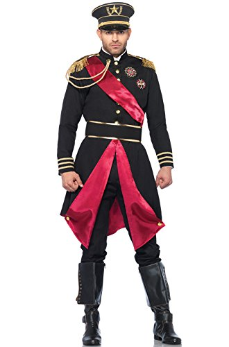 Leg Avenue Men's 2 Piece Military General Costume, Black, Medium/Large