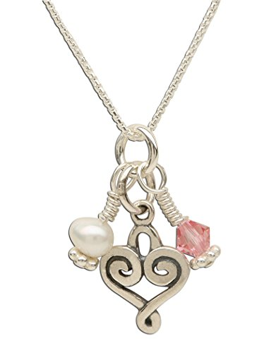 (Children's Sterling Silver Heart Necklace with Cultured Pearl and Pink Swarovski Crystal, 14