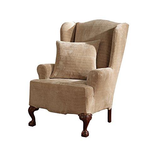 (SureFit Stretch Royal Diamond - Wing Chair Slipcover  - Cream (SF36573))