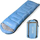 sleeping bag - CERTAMI Sleeping Bag for Adults, Girls & Boys, Lightweight Waterproof Compact, Great for 4 Season Warm & Cold Weather, Perfect for Outdoor Backpacking, Camping, Hiking. (Sky Blue/Left Zip)