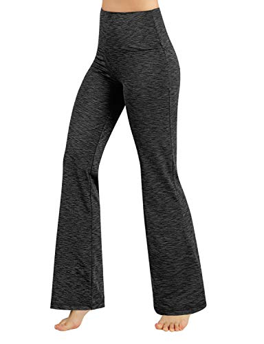 (ODODOS Power Flex High Waist Boot-Cut Yoga Pants Tummy Control Workout Non See-Through Bootleg Yoga Pants,SpaceDyeCharcoal,X-Large)