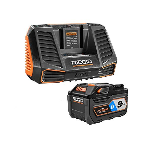 Ridgid 18V Bluetooth 9.0Ah Lithium-Ion Battery Starter Kit with Charger AC801 (Ridgid Battery Charger)