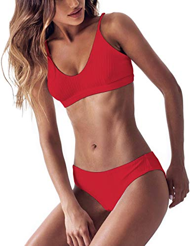 - Womens Swimsuits 2 Pcs Brazilian Top Thong Bikini Set High Waisted Bathing Suits for Women