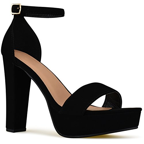 Premier Standard Womens Platform Ankle Strap High Heel - Peep Toe Sandal Pump - Sexy Chunky Dressy Heel, TPS Heels-T52 Black Size 10 (Shoe Sexy Peep Toe)