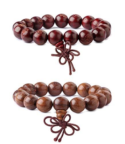 - Finrezio 2 PCS 12MM Wood Beaded Bracelets for Men Women Tibetan Buddhist Buddha Meditation Mala Wrist Bracelet Elastic