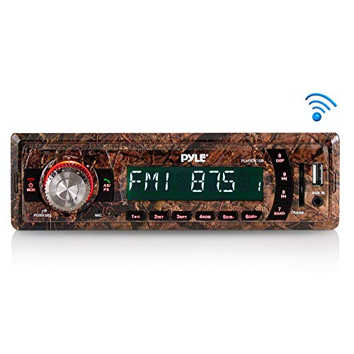 Pyle PLMRDK18B Camo Stereo Radio Head Unit Receiver Bluetooth Streaming Hunting Camouflage Style MP3/USB/SD/AUX/FM Radio Single DIN