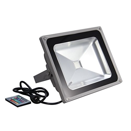 econoLED RGB LED Flood Light,50W US 3 Prong Plug,Remote Control,16 Colors 4 models Switchable,Memory Function,Outdoor Advertising Housing Decoration Landscape Garden