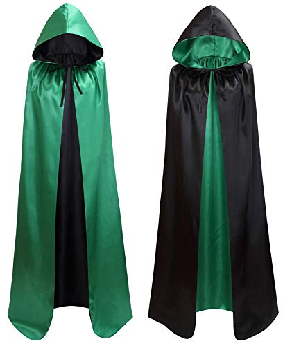 makroyl Unisex Reversible Hooded Cloak Cape for Christmas Halloween Party Vampires Cosplay Costumes (Black+Green, -