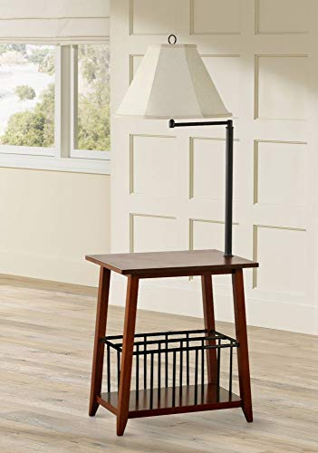 - Seville Mission Floor Lamp End Table Swing Arm Oak Wood Bronze Off White Linen Shade for Living Room Reading Bedroom Office - Regency Hill