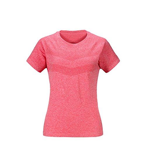 BeFur Camiseta de cuello redondo de secado rápido manga corta deporte delgado sudor transpirable para mujeres