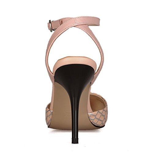 Amoonyfashion Para Mujer Con Tacones Puntiagudos Sandalias De Hebilla A Cuadros De Material Suave Rosa