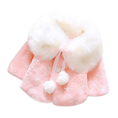 Sameno Baby Girls Christmas Winter Fur Warm Coat Jacket Long Sleeve Top Thick Warm Clothes (Pink1, 12-18 Months)