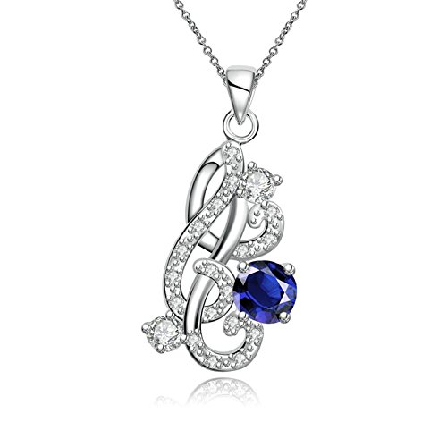 AmDxD Jewelry Silver Plated Pendant Necklaces for Women Silver Teardrop Zirconia Necklace