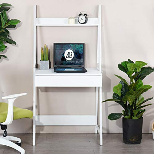 Ladder Desk Bookcase (White Finish Leaning Ladder Desk Bookcase Bookshelf with Drawer and Top Shelf)