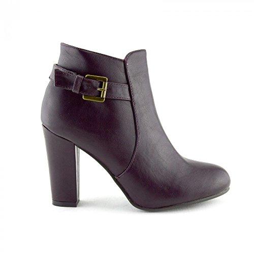 Borgogna Zip Tacco Donna Footwear High Stivaletti Casual Mid Blocco Scarpe Up Kick Biker Chelsea SOAXTq