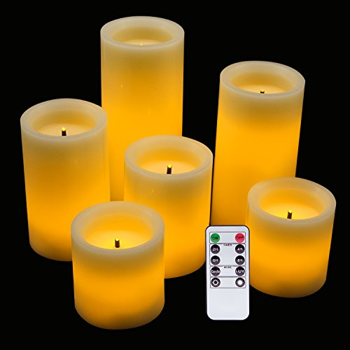 Eldnacele LED Flameless Flickering Candles Optical Fiber Wick with Remote and Timer, Battery Operated Wax Candles 6 Pack Decoration(D3 x H3 4 5 67)