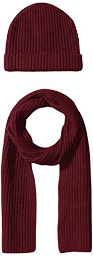 Williams Cashmere 2pc Men's Chunky Solid Hat & Solid Rib Scarf, wine, One -