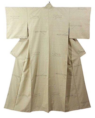 リサイクル 着物 紬 とんぼ 飛び柄 正絹 袷 裄64cm 身丈161cm