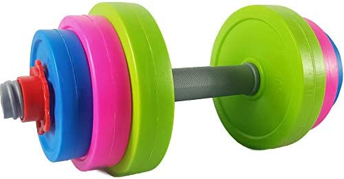 RAINBOW TOYFROG Toys Dumbbells -Kids Workout Equipment Set- Pretend Toddler Gym Stuff Weights for Exercises -Adjustable Dumbbell Fill with Beach Sand or Water