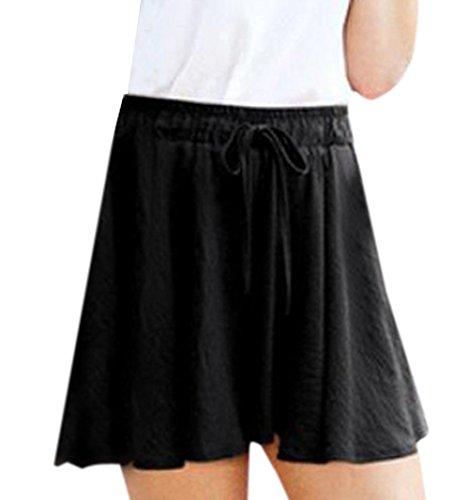 Shorts Monika Baggy Vita Hot Gamba Larga Nero Donna Estivo Moda Casual Pantaloncini Pants Alta a con Corto Coulisse Pantaloni 60qZr6wt