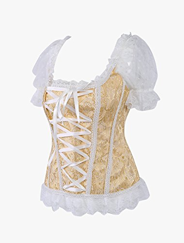 ZAMME Novia de las mujeres Gothic Lace Halloween Overbust corsés cintura entrenador Bustiers Shapewear cuerpo Amarillo