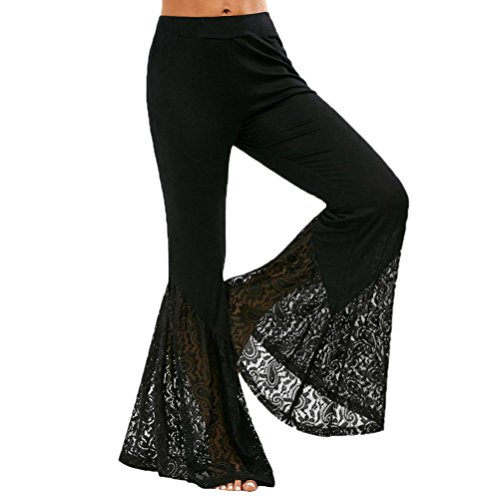 Greatgiftlist Womens Stretchy Crochet Wide Leg Flared Bell Bottom Eyelet Dancing Casual Pants Trousers (M, (Eyelet Crop Pants)