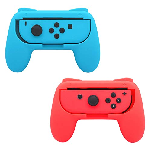 FastSnail Grips compatible with Nintendo Switch Joy Cons, 2 Pack (Red and Blue) Only
