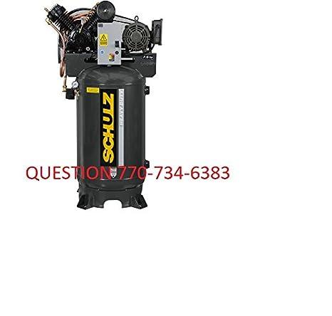 amazon com: 7 5hp single phase 80 gallon, 175 psi, 30 cfm, schulz compressor:  home improvement