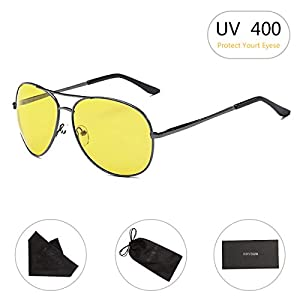 HD Night Vision Glasses for Driving RAYSUN Yellow Lens Aviator Anti glare Sunglasses