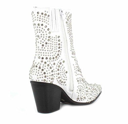 Jeffrey Campbell Femmes Ace-sj Botte Blanc Argent