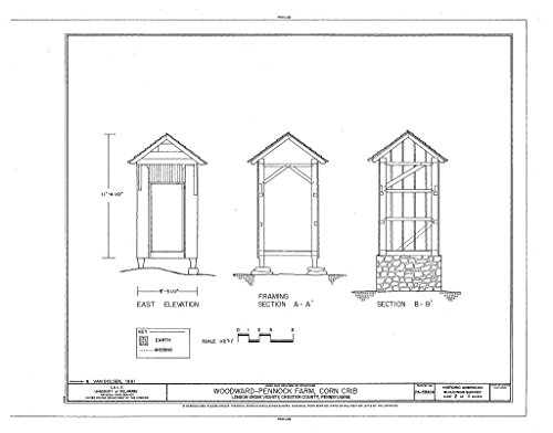 Woodwards Farm - Historic Pictoric Structural Drawing HABS PA,15-LONGR.V,3A- (Sheet 2 of 4) - Woodward-Pennock Farm, Corn Crib, 741 Newark Road, Chatham, Chester County, PA 55in x 44in