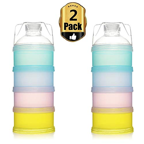 Yafeco 2Pcs Stackable Formula Dispenser Bap Free,Detachable Design with Four Folds Baby Feeding Travel Snack Storage Container (Food Storage Containers Bap Free)