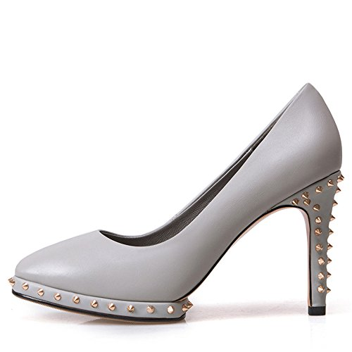 Nine Seven Cuero Moda Plataforma Puntiagudos Zapatos de Tacón Alto con Remache para Mujer gris