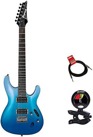 Ibanez s521ofm S Serie 6 Cuerda océano Fade metálico solidbody eléctrico guitarra paquete con guitarras Clip On Sintonizador y cable de instrumento – guitarra eléctrica paquete: Amazon.es: Instrumentos musicales