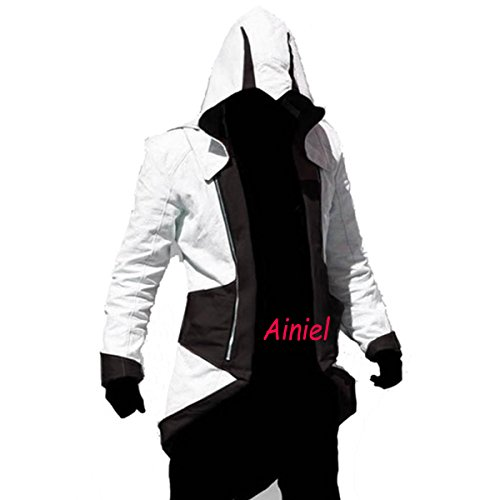 Ainiel Unisex Anime Custome Windbreaker Cool Long Sleeve Costume Jacket(Adult-size 2XL, White and (Cool Halloween Costumes)