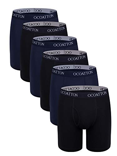 OCOATTON Men's Boxer Briefs Long Leg Big and Tall Combed Cotton Underwear Open Fly 6-Pack (3black/3blue, 5XL) 5 Combed Cotton Briefs