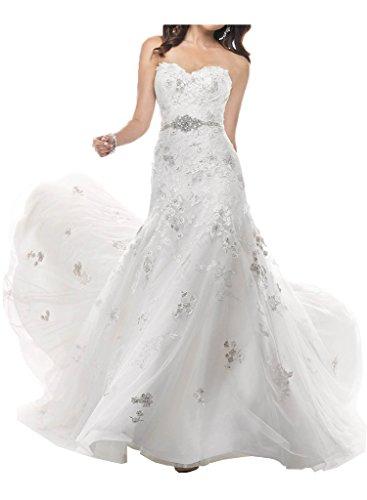 Victory Bridal Wunderschoen Weiss Spitze Trumpet Figurbetont Hochzeitskleider brautkleider Brautmode