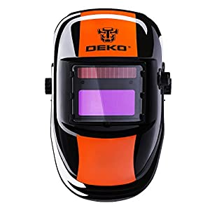DEKOPRO Welding Helmet Solar Powered Auto Darkening Hood with Adjustable Shade Range 4/9-13 for Mig Tig Arc Welder Orange Black by XUGEL GROUP