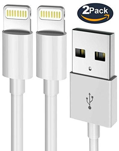 iPhone Charger Lightning Cable - Certified [Heavy Duty] Power Gadgets 2 PACK iPhone Sync & Charge Cord for iPhone X, 8, 8 Plus, 7 Plus iPad Mini, iPad Air, Pro, iPod iOS10 - White (6 FEET / 2 METER) (Mini Ipad Cord)