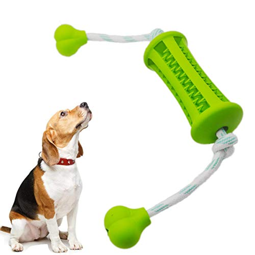 IQ Treat Food Dispensing Rubber Toys for Small Medium Dogs with Washable Cotton Rope,Durable Dog Chew Toys for Chewing…