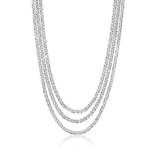 Ross-Simons Sterling Silver Three-Strand Byzantine Necklace. 18'' by Ross-Simons