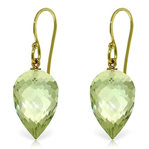 19 CTW 14K Solid Gold Fish Hook Earrings Briolette Green Amethyst