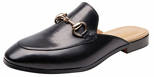 U-lite Women's Horsebit-Detailed Leather Loafers Black Mule Shoes ()