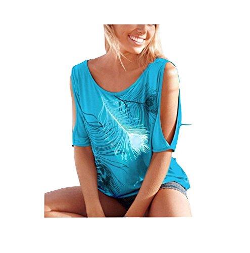 Imprim T Courtes Femme Dnude Shirt Blouse Epaule Chemise Chic Plumes Bleu Casual Manches aux az64nB