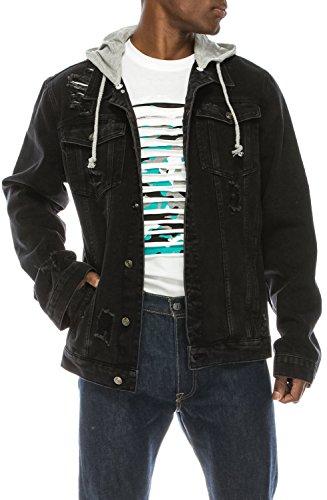 UPSCALE Men's Distressed Denim Jacket w/Removable Hood