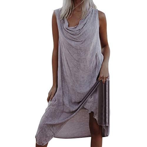 Sttech1 Women Summer Bohemian Sleeveless Fold Asymmetrical Beach Holiday Dress M-3XL Beige